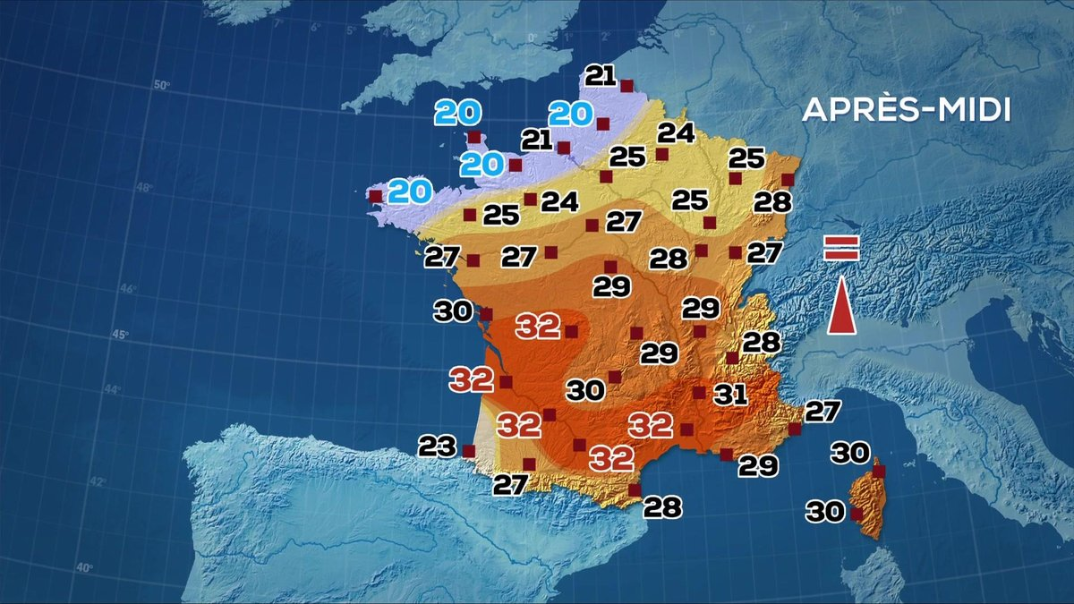 Les prévisions météo du JT de 13 heures du 13 septembre 2019 - TF1