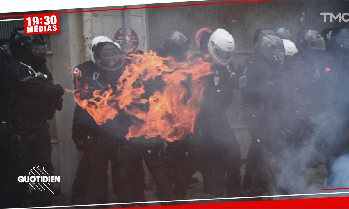 """Pourquoi cette image d'un policier """"en flammes"""" est trompeuse"""