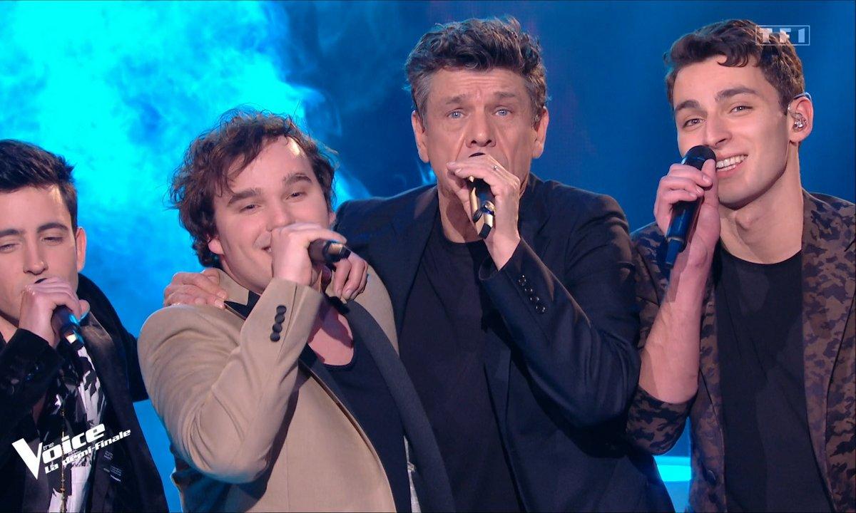 """The Voice 2021 – Arthur, Tarik, Jim Bauer et Marc Lavoine chantent """"Osez Joséphine"""" d'Alain Bashung (Demi-finale)"""