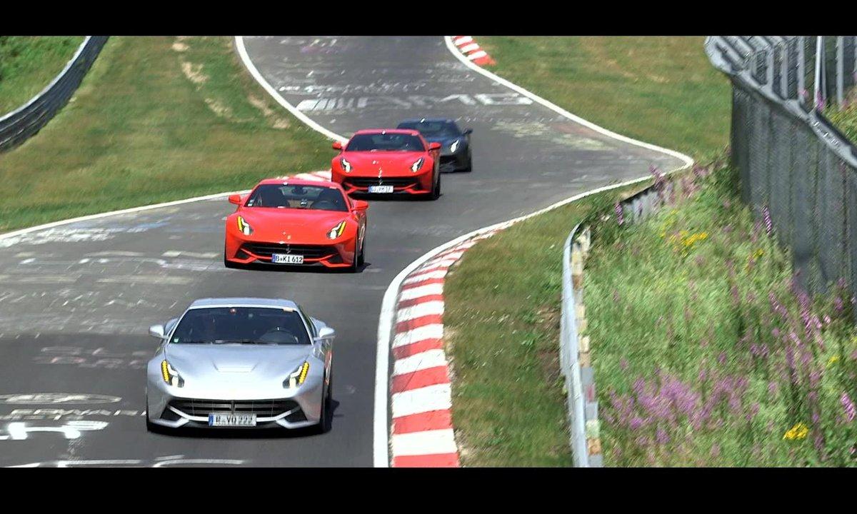40 Ferrari F12 berlinetta sur le circuit du Nürburgring