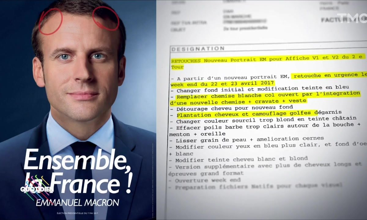 Le budget Photoshop d'Emmanuel Macron pour son affiche du second tour