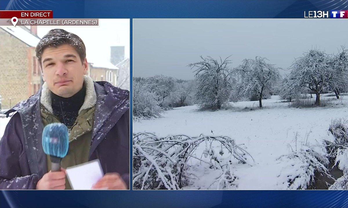 De la neige à gros flocons sur les Ardennes