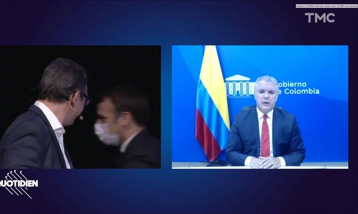 Emmanuel Macron file en douce pendant le 60ème anniversaire de l'OCDE