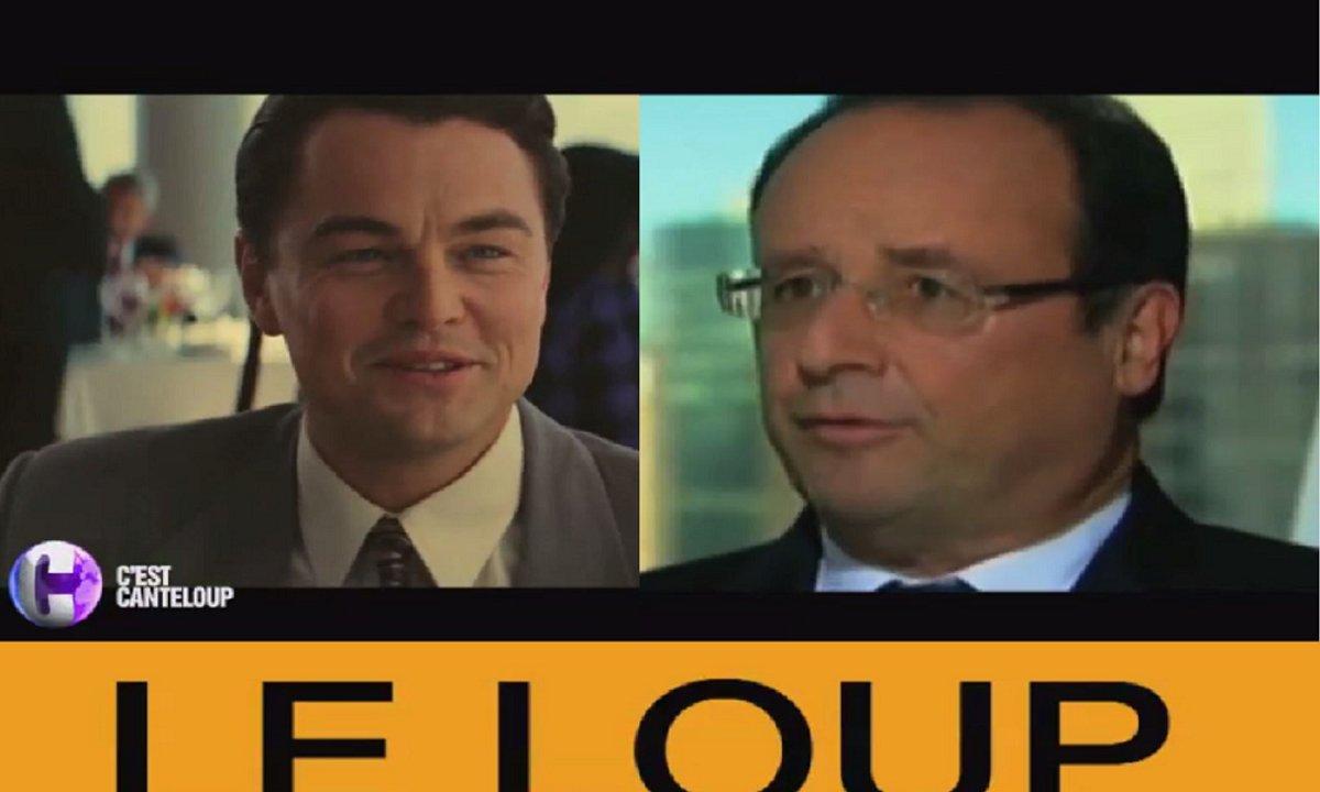 """François Hollande et Leonardo DiCaprio dans """"Le Loup de Bercy"""""""