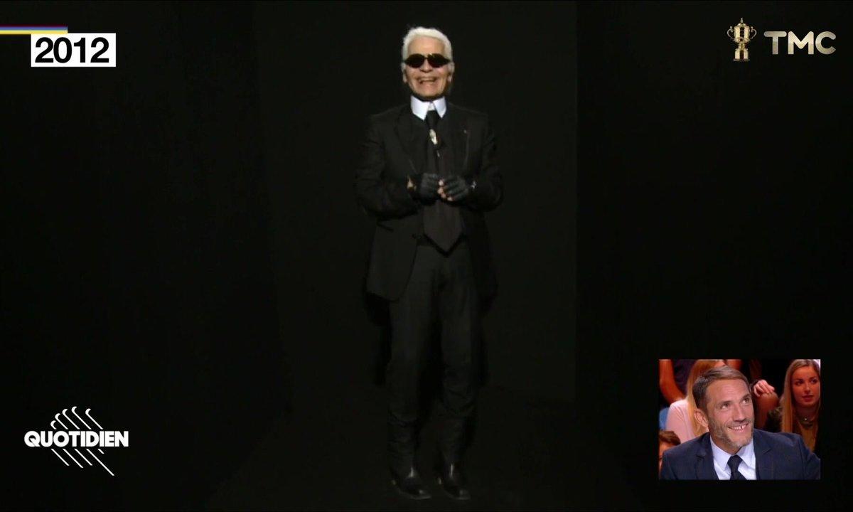 Les images rares du fou rire de Karl Lagerfeld
