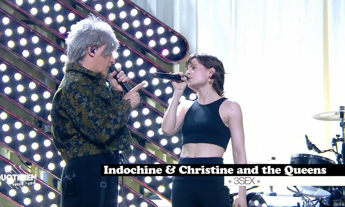 """Indochine & Chris: """"Troisième sexe"""" en live pour Quotidien"""