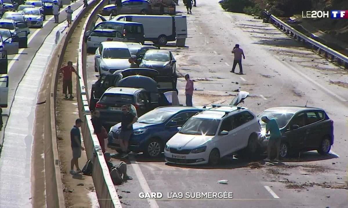 Inondations dans le Gard : des automobilistes pris au piège sur l'A9