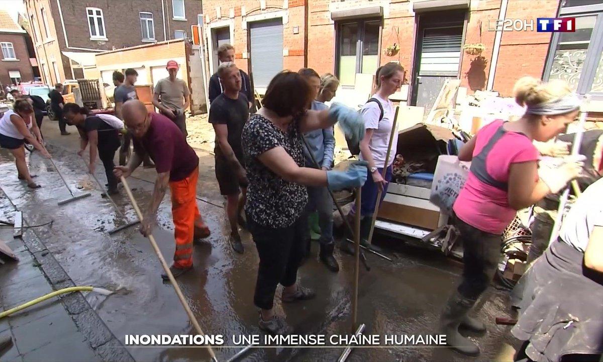 Inondations en Belgique : une immense chaîne humaine s'est formée