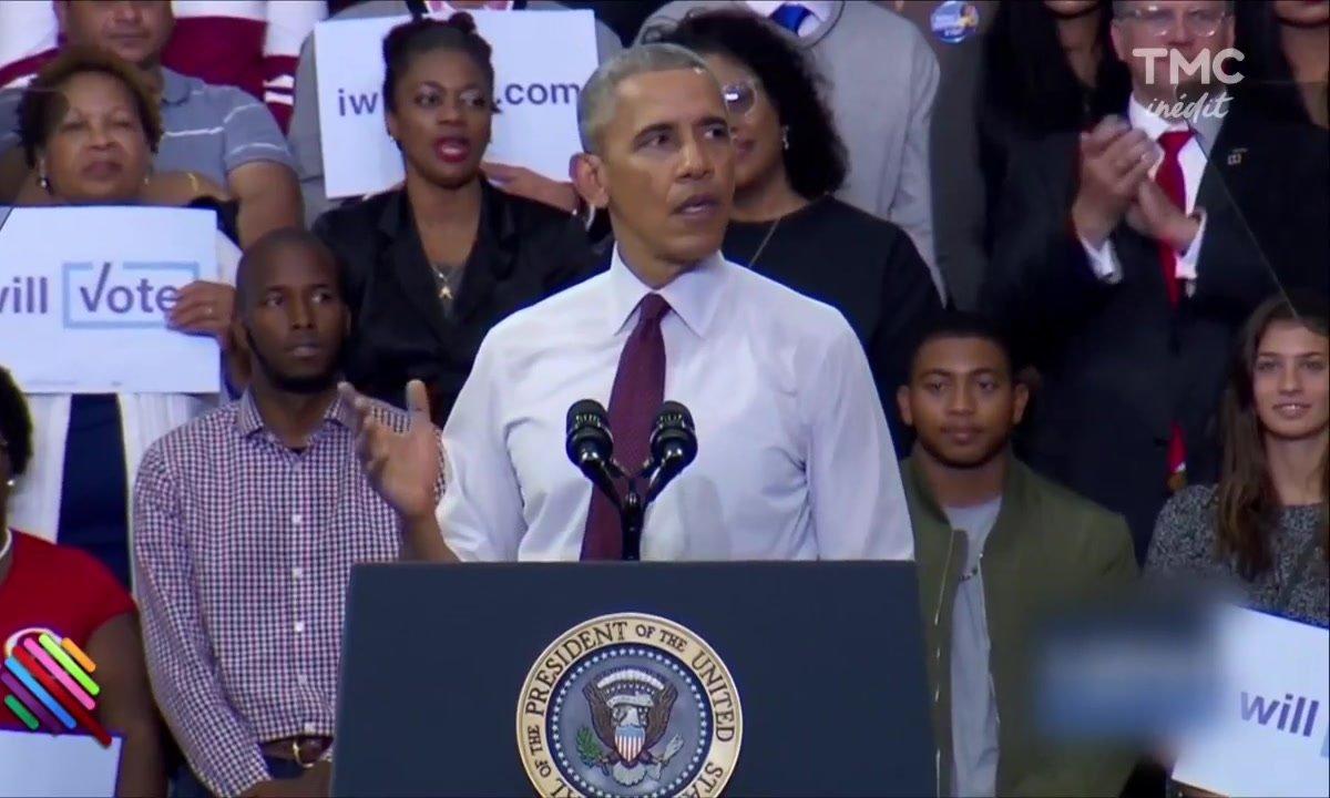 Interrompu par un soutien de Trump, Obama délivre un message fort