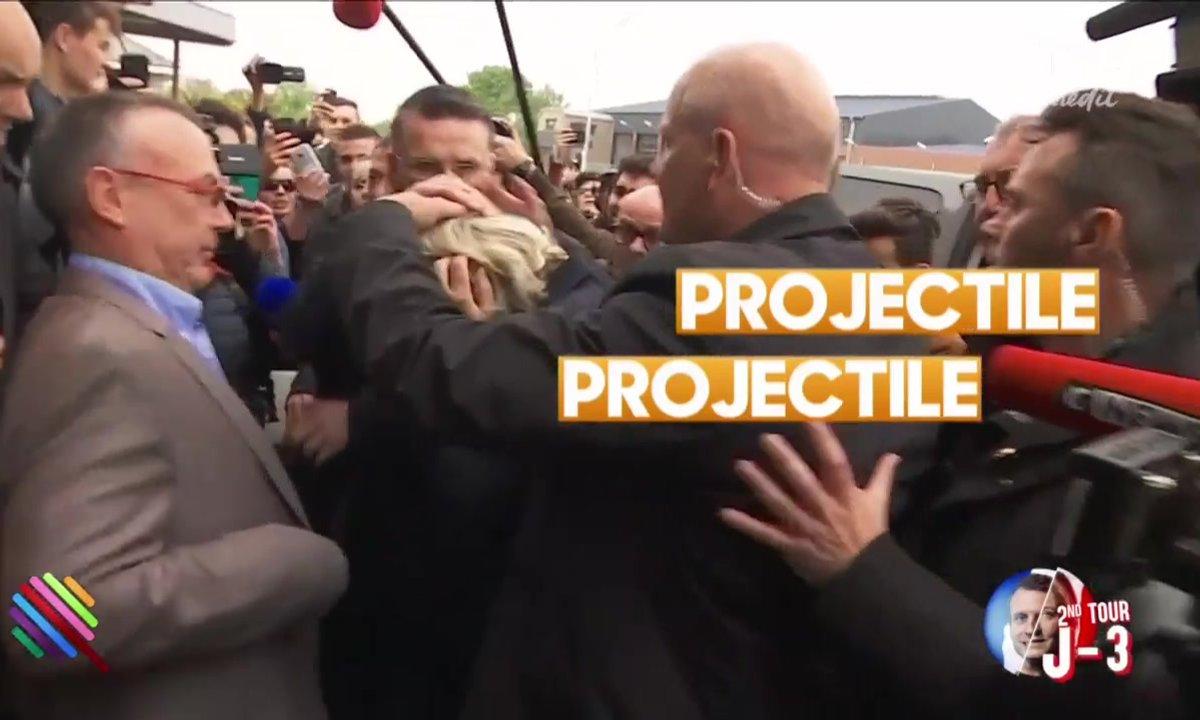 Jets d'œufs et image d'Epinal pour Marine Le Pen