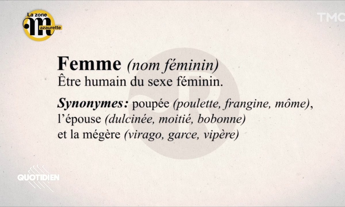 """La zone Mazaurette: """"pute"""", """"poulette"""" ou """"bobonne"""", les charmants synonymes de """"femme"""" dans le dico"""
