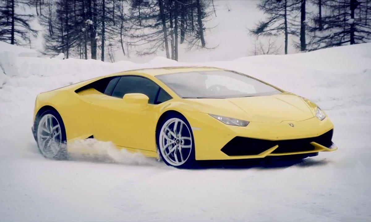 Les Lamborghini Aventador et Huracan en reines des neiges