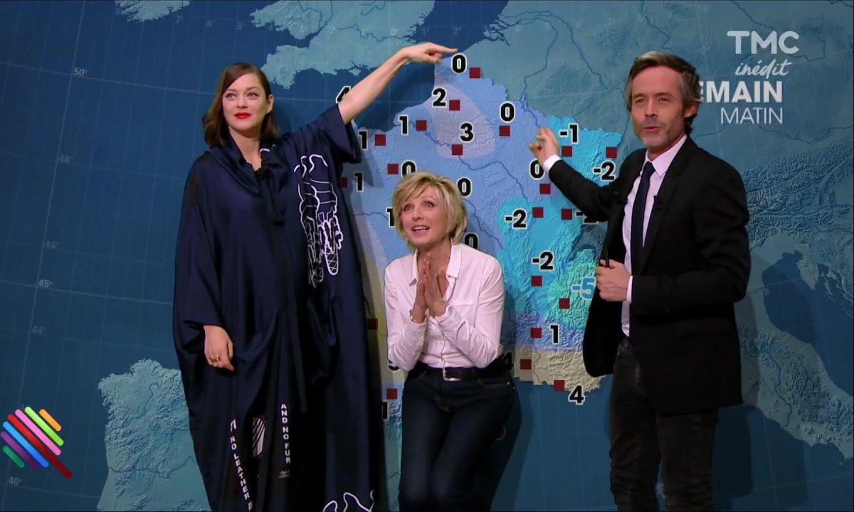 La météo du 16 décembre est présentée par Evelyne Dheliat et Marion Cotillard