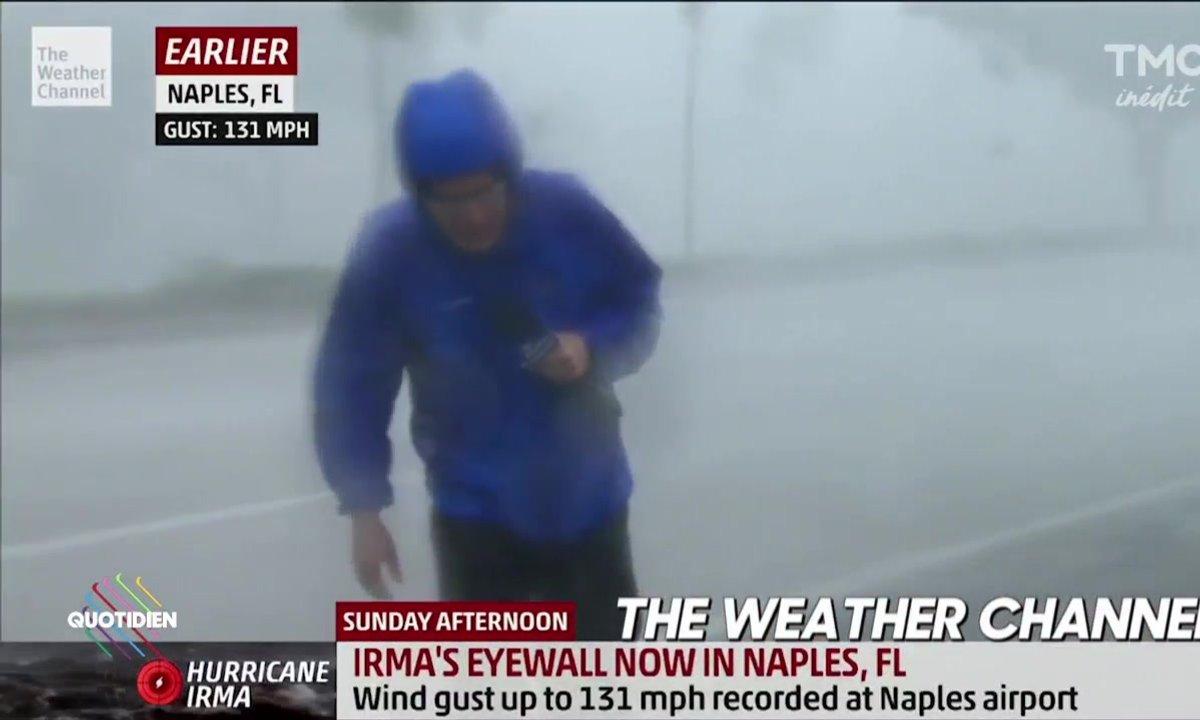 Ouragan Irma : des envoyés spéciaux accrochés au balcon !