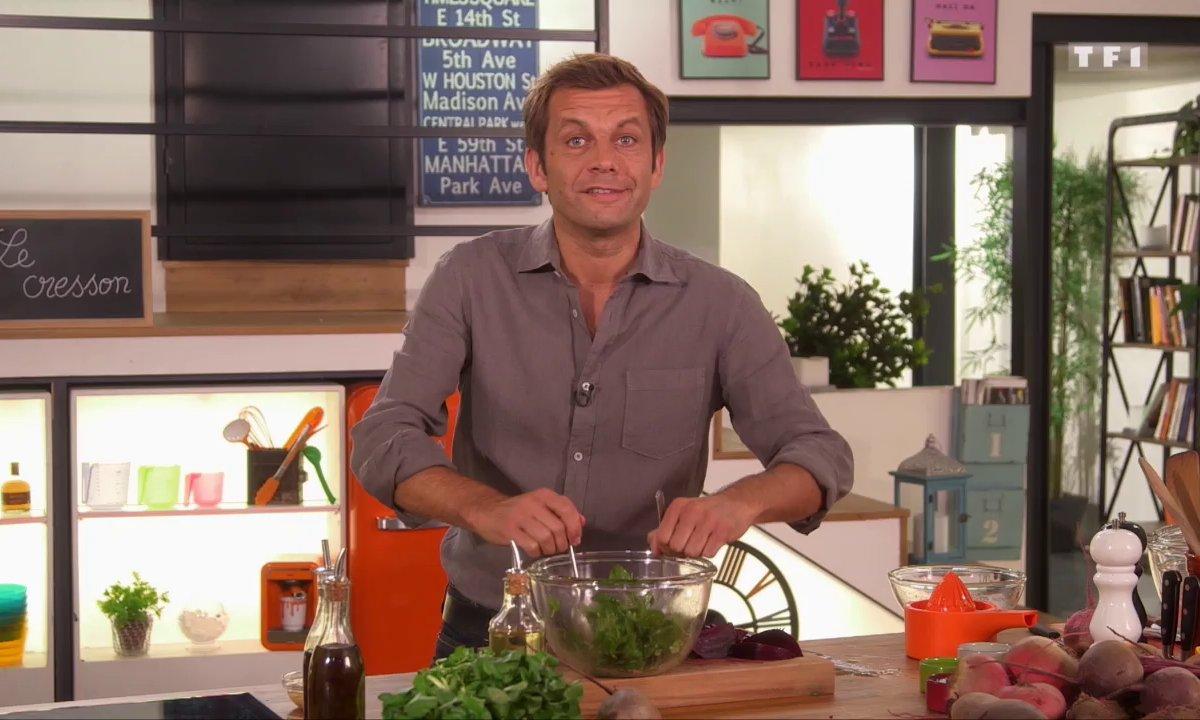 Salade de betterave et cresson, vinaigrette moutardée à l'orange