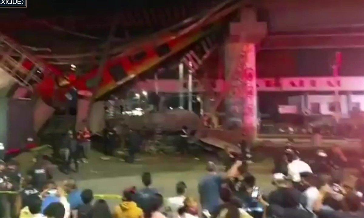 Pont effondré au passage d'un métro : les images impressionnantes du drame de Mexico
