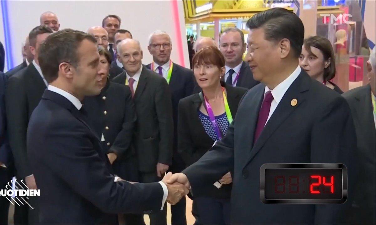 Profession président : l'interminable poignée de mains de Macron et Xi Jinping