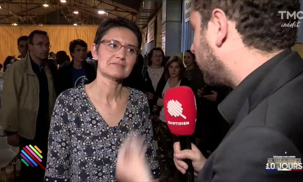 Nathalie Arthaud installe son karaoké révolutionnaire à Vénissieux