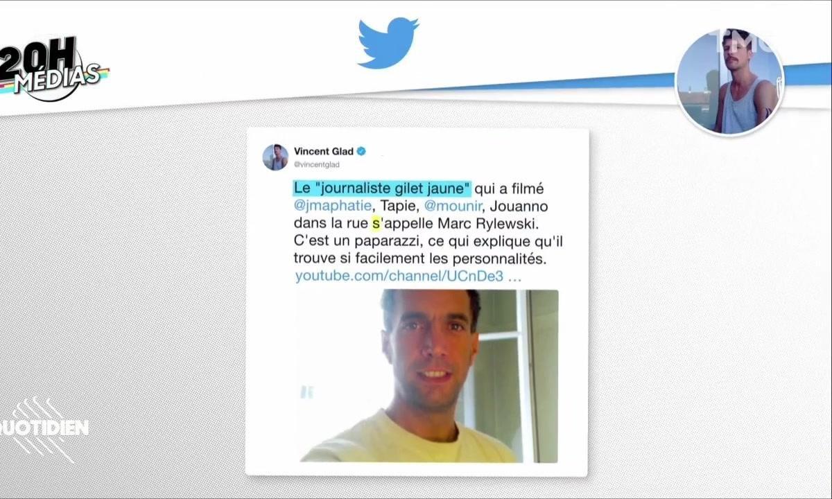 """20h Médias - Jean-Michel Aphatie, Bernard Tapie : qui est le """"journaliste gilet jaune"""" qui les a pris à partie ?"""