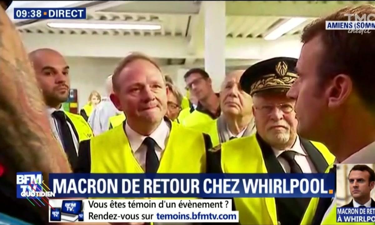 Emmanuel Macron face aux salariés de Whirlpool