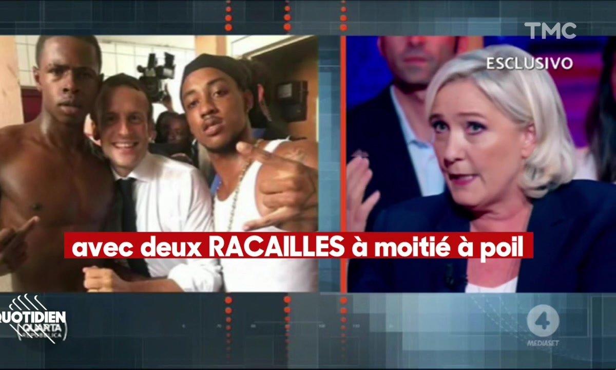 """""""Racailles"""": Marine Le Pen charge les jeunes de St-Martin en photo avec Macron"""