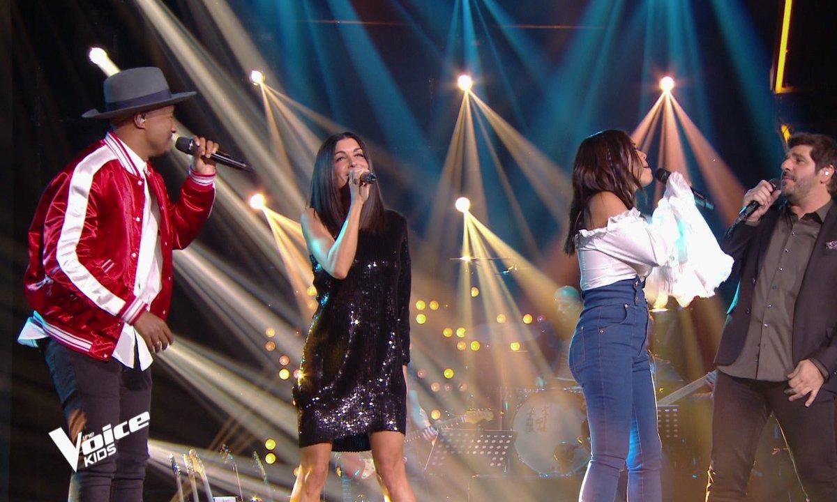 The Voice Kids – Amel Bent, Jenifer, Patrick Fiori et Soprano interprètent « La même » de Maître Gims et Vianney