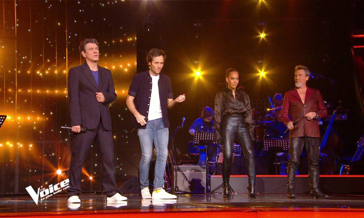 """The Voice 2021 - Les coaches chantent """"La musique que j'aime"""" de Johnny Hallyday"""