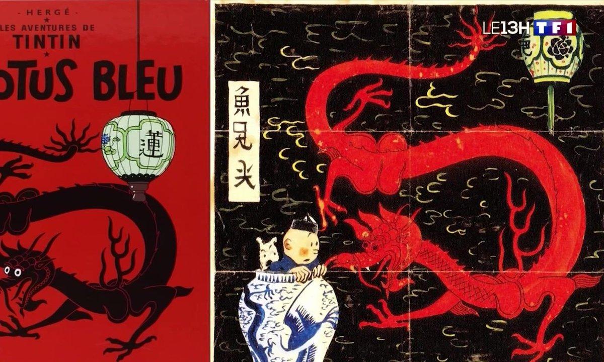 """Tintin : la couverture originale du """"Lotus bleu"""" aux enchères"""