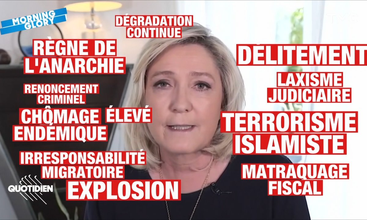 Une minute d'optimisme selon Marine Le Pen