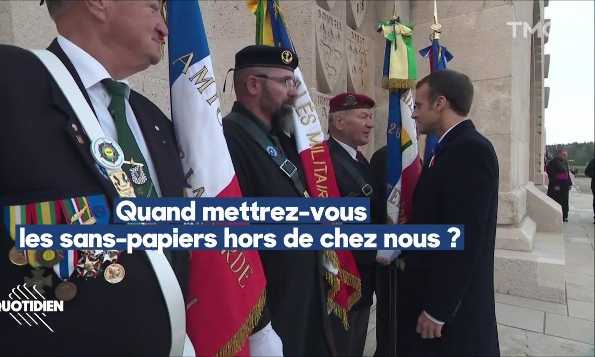 Verdun: un vétéran interpelle Emmanuel Macron sur les sans-papiers