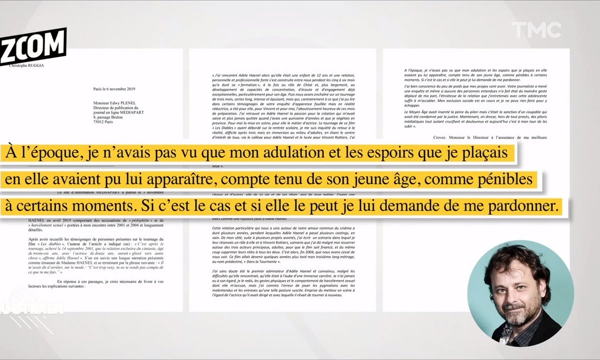 """Zoom – Adèle Haenel : 'si elle le peut, je lui demande de me pardonner"""" réagit Christophe Ruggia à Mediapart"""