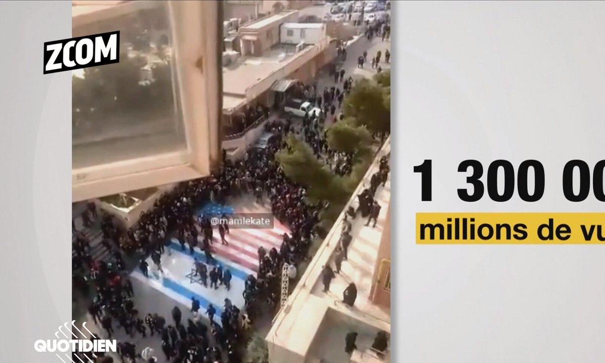 Zoom : d'où vient la vidéo d'étudiants iraniens refusant de piétiner les drapeaux américain et israélien ?