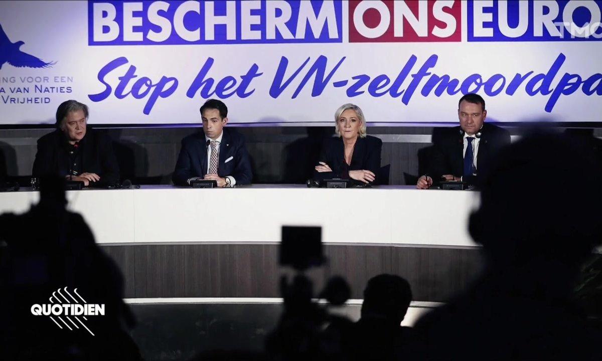 Zoom : pendant que les gilets jaunes défilent, Marine Le Pen tient meeting avec Steve Bannon