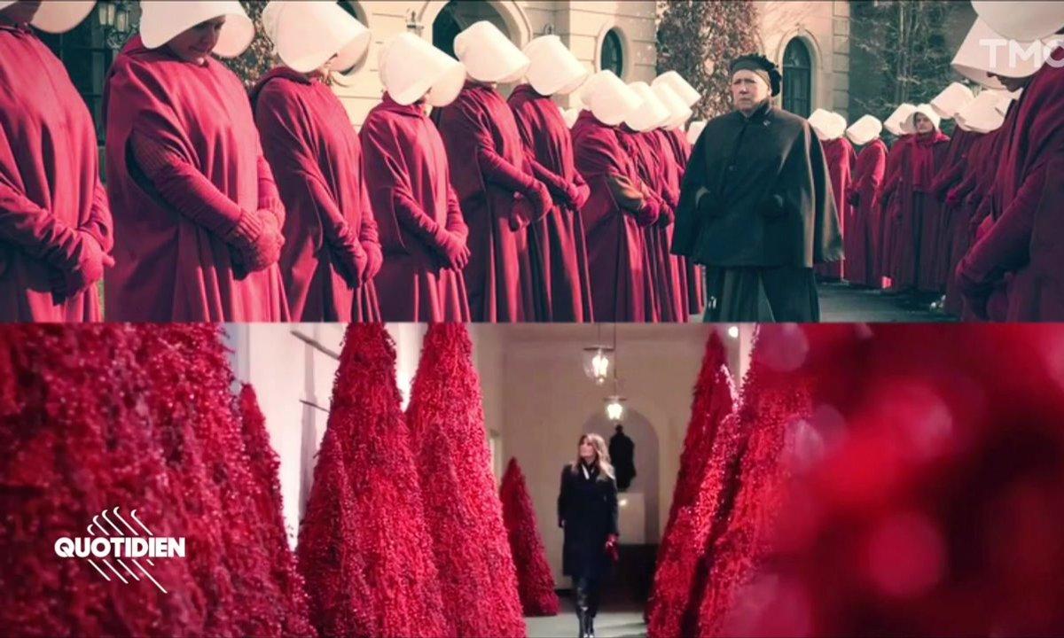 Zoom : les troublants sapins rouge sang de Melania Trump