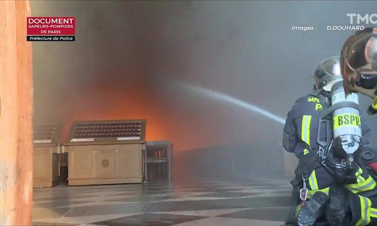 Zoom : la vidéo filmée par les pompiers au cœur de l'incendie de Notre-Dame