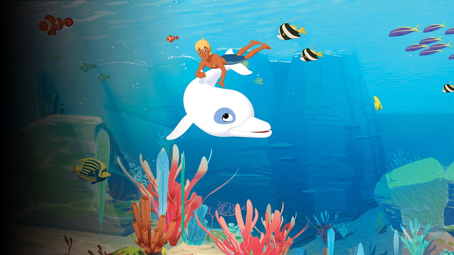 fond Trois hommes et un dauphin - Oum le dauphin blanc