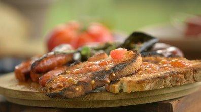 Apéro TAPAS : piment d'Anglet / pan con tomate / chorizo grillé