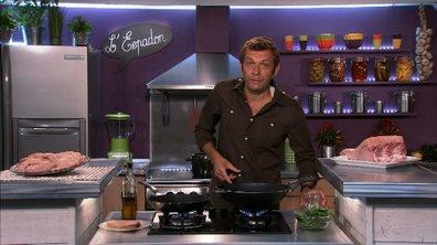 Pavé d'espadon et légumes verts au wok au coulis d'estragon