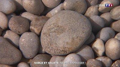 À Étretat, il est interdit de ramasser du sable et des galets sur les plages !