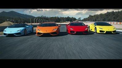 Les 4 Lamborghini Huracan réunies dans une vidéo spectaculaire