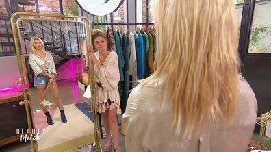 Le combo minishort en jean et chemisier en satin de Mina va-t-il plaire à Amandine ?