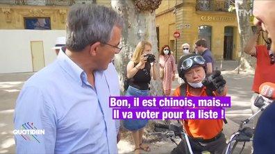 """""""Bon, il est chinois mais il va voter pour ta liste"""" : scène hallucinante entre le RN Thierry Mariani et un électeur"""