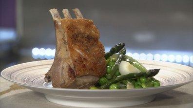 Carré d'agneau rôti aux légumes printaniers