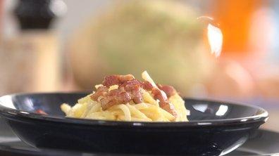 Céleri rave en spaghetti alla carbonara.