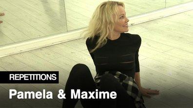Répétitions - Pamela Anderson à terre pour sa danse avec Maxime Dereymez