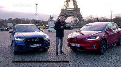 Paris-Megève : Tesla Model X électrique vs Audi SQ7 diesel