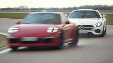 Teaser : Le duel Mercedes-AMG GT vs Porsche 911 dans Automoto