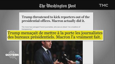 Emmanuel Macron boute les journalistes hors du palais de l'Elysée