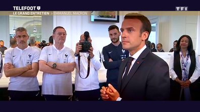 """[Exclu Téléfoot 10/06] - Macron : """"J'ai senti une équipe qui avait envie de nous ramener la Coupe du monde"""""""