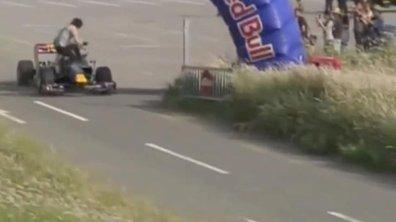 Vidéo insolite : la F1 de Buemi percute un homme dans un show